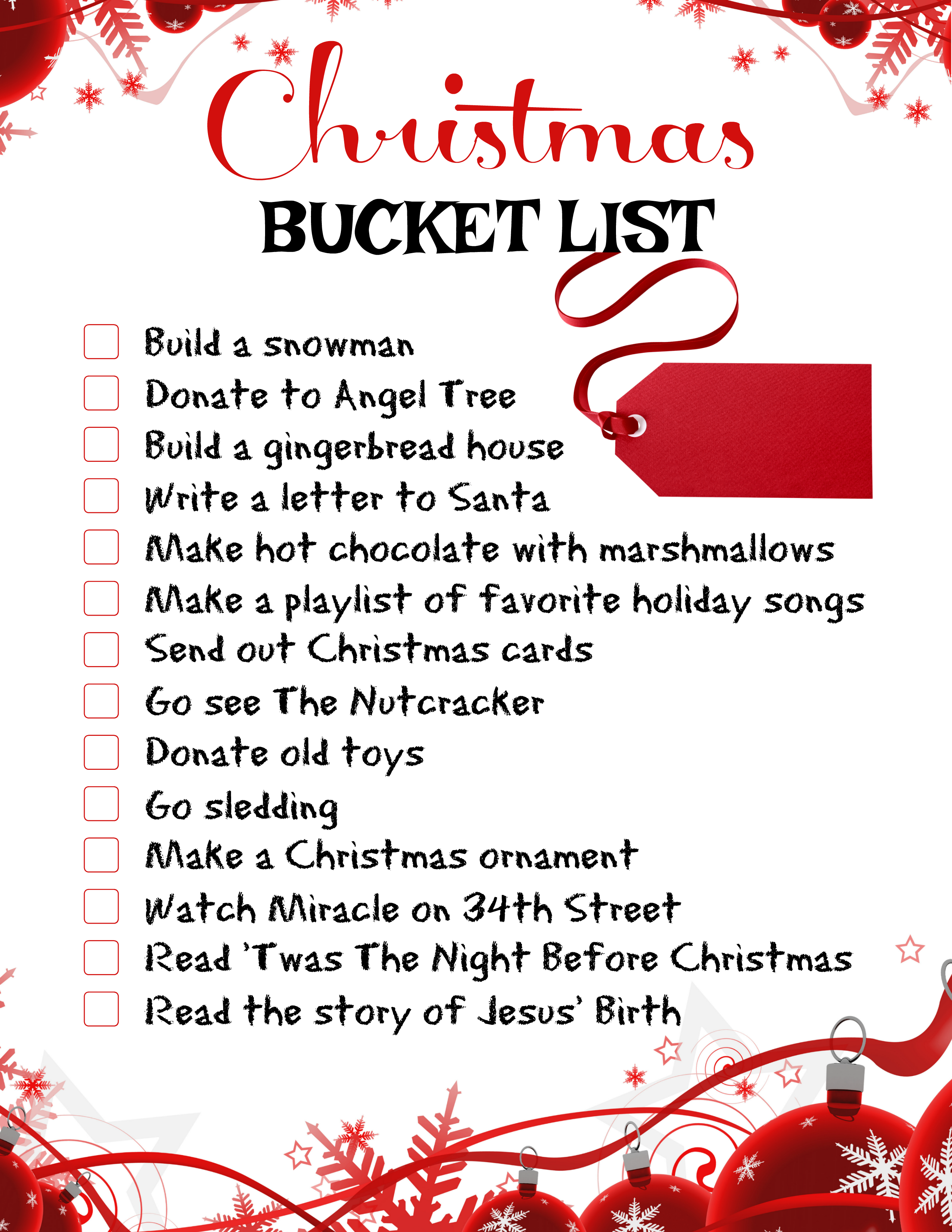 Family Traditions Christmas Bucket List Printable The Frugal Sisters